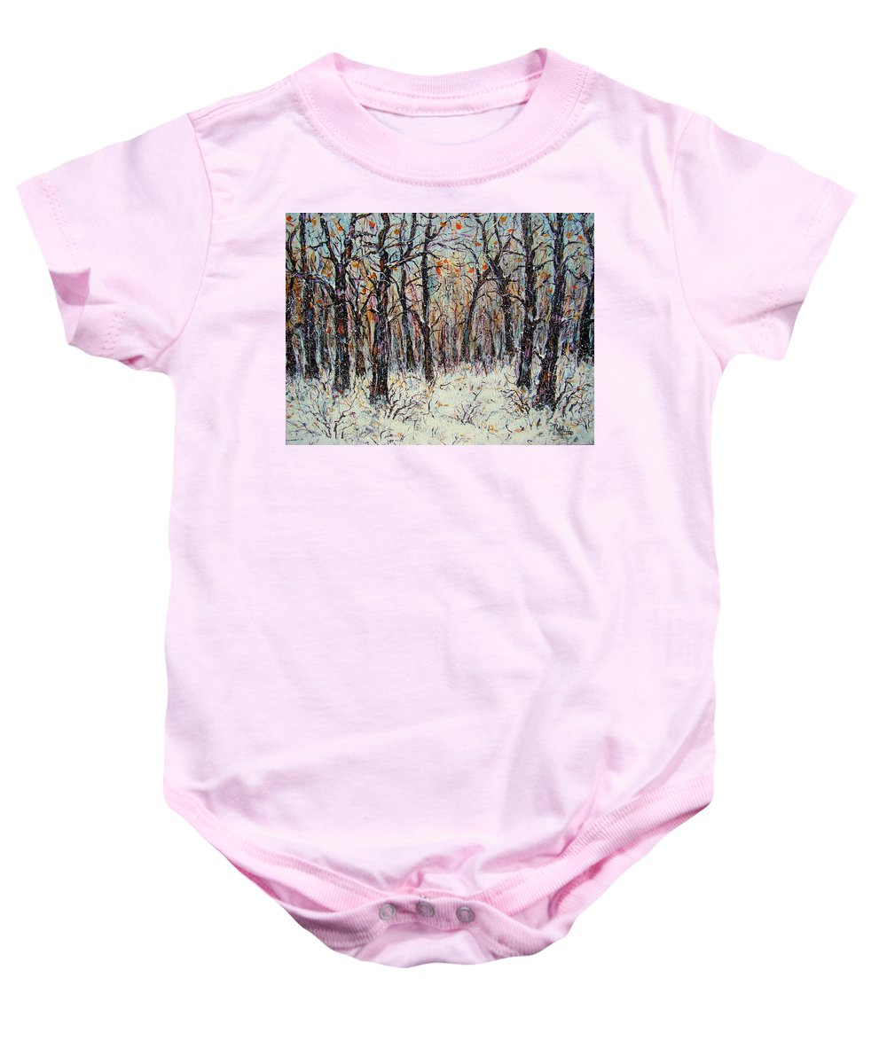 Landscape Baby Onesie featuring the painting Snowing In The Forest by Natalie Holland