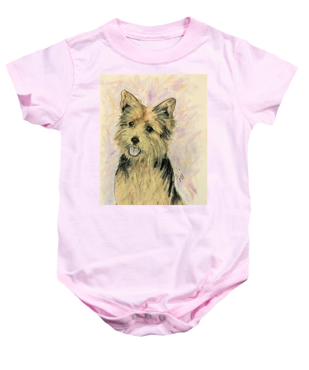 Dog Baby Onesie featuring the drawing Soulmate by Cori Solomon