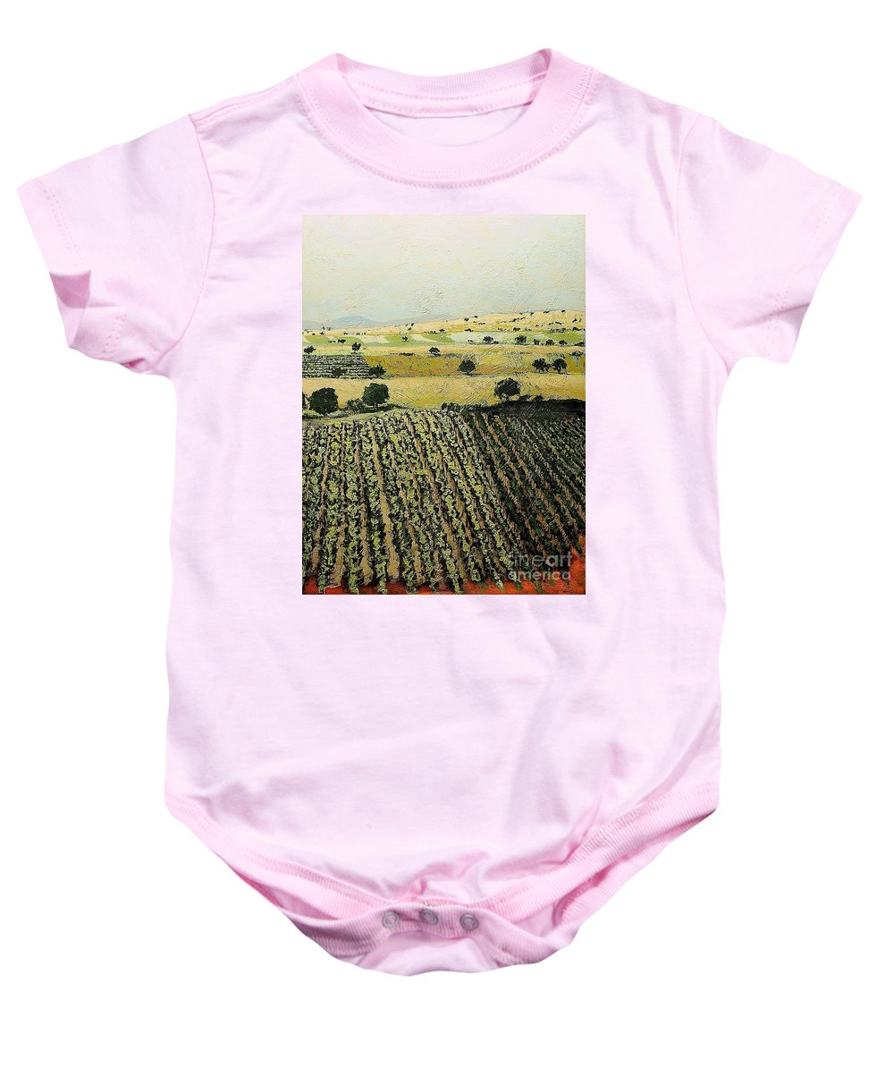 Landscape Baby Onesie featuring the painting Storms Over by Allan P Friedlander
