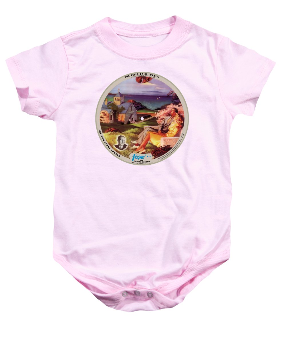 Vogue Picture Record Baby Onesie featuring the digital art Vogue Record Art - R 710 - P 9, Blue Logo - Square Version by John Robert Beck