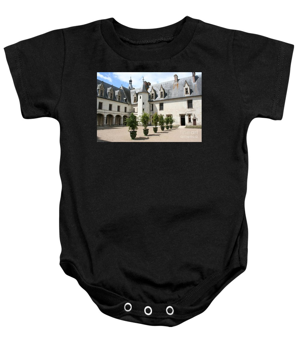 Palace Baby Onesie featuring the photograph Courtyard Chateau Chaumont by Christiane Schulze Art And Photography