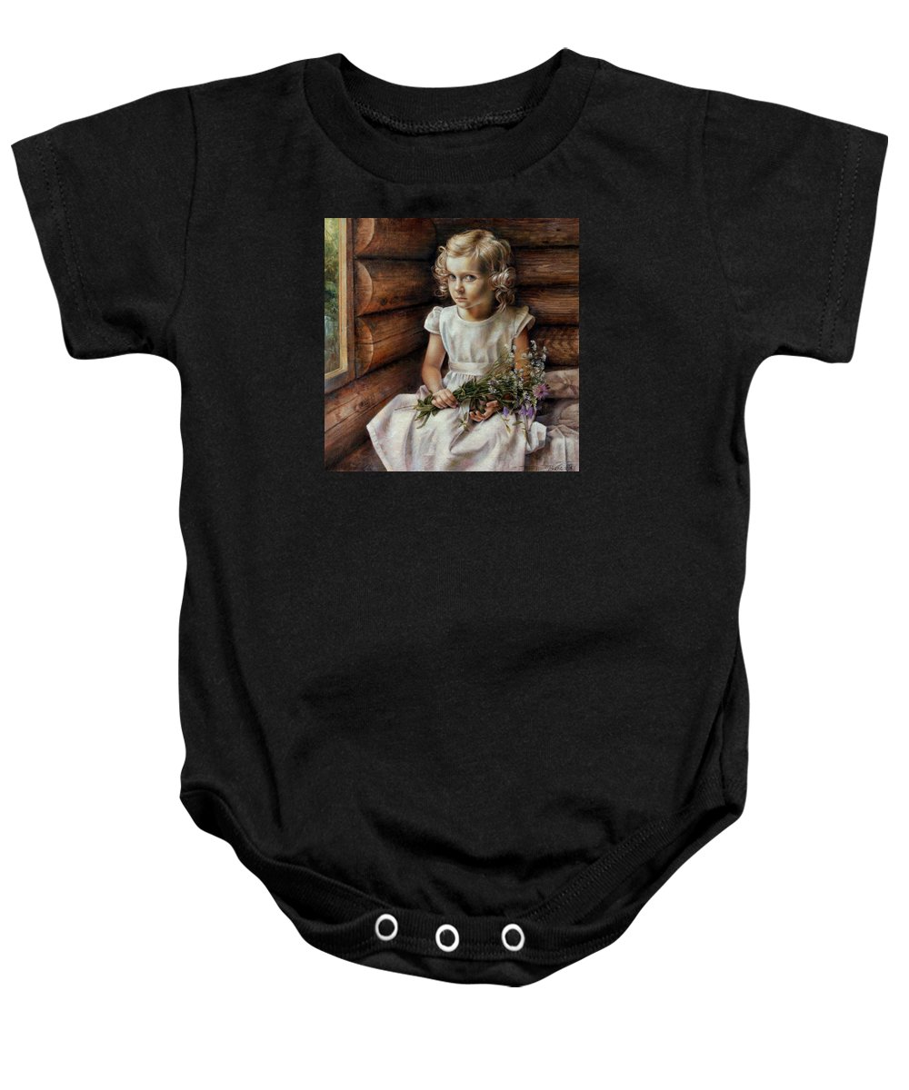 Girl Baby Onesie featuring the painting Girl With Wild Flowers by Arthur Braginsky