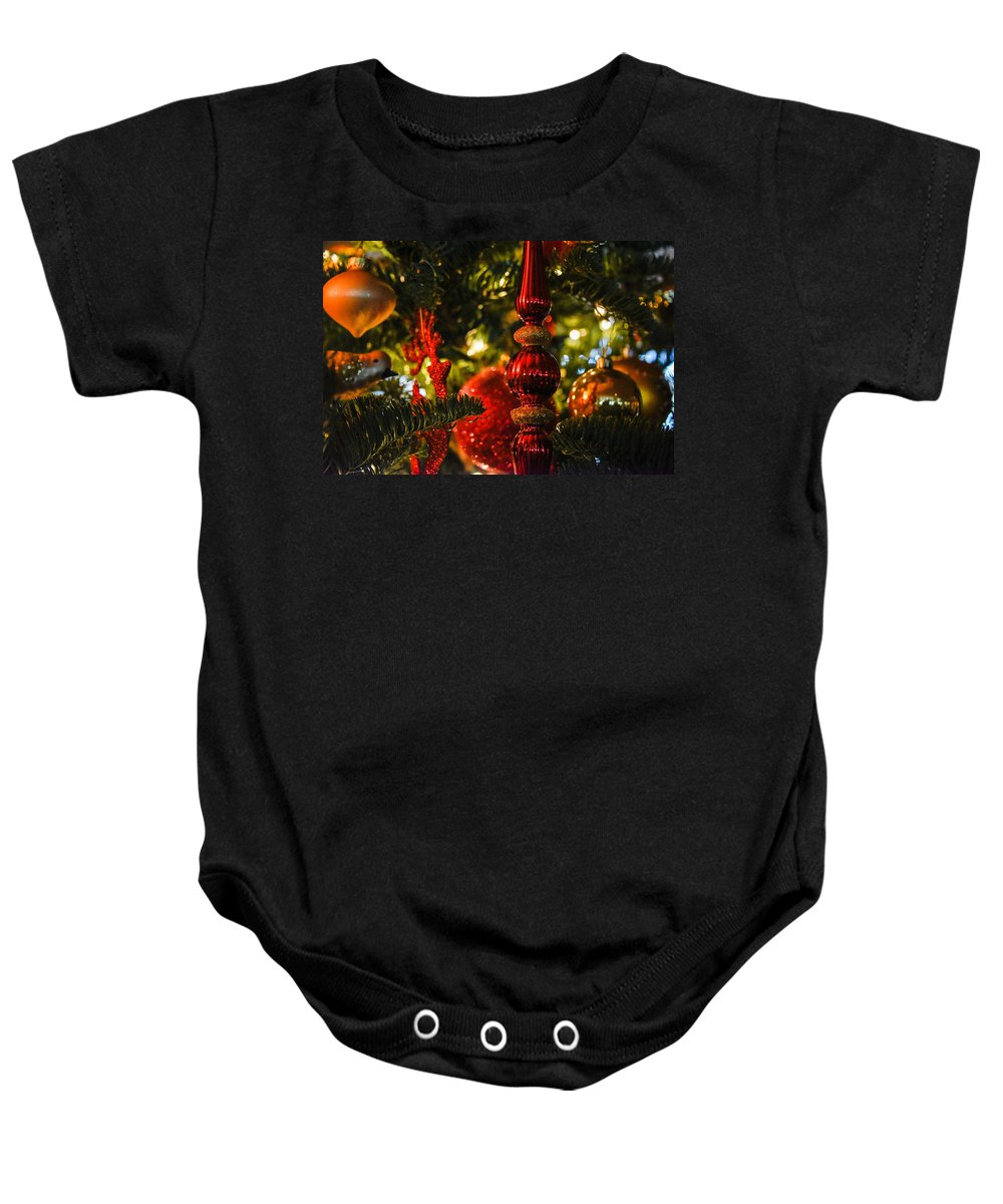 Christmas Tree Baby Onesie featuring the photograph Holiday Decorations by Lee Roth