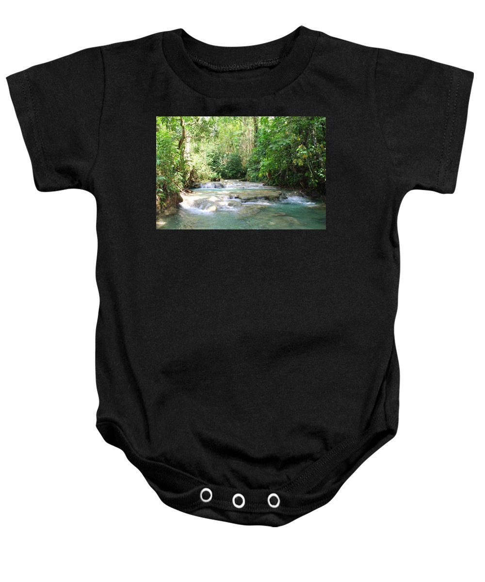 Mayfield Falls Baby Onesie featuring the photograph Mayfield Falls Jamaica by Debbie Levene