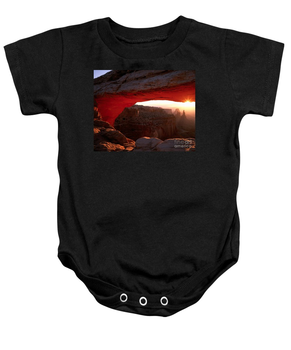 Arch Baby Onesie featuring the photograph Mesa Arch Sunrise by Tracy Knauer