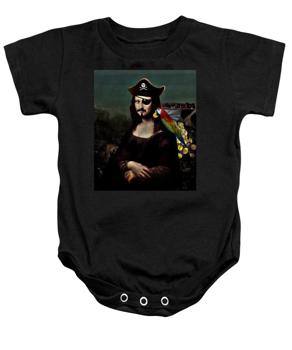 Pirate Baby Onesie featuring the digital art Mona Lisa Pirate Captain by Gravityx9 Designs