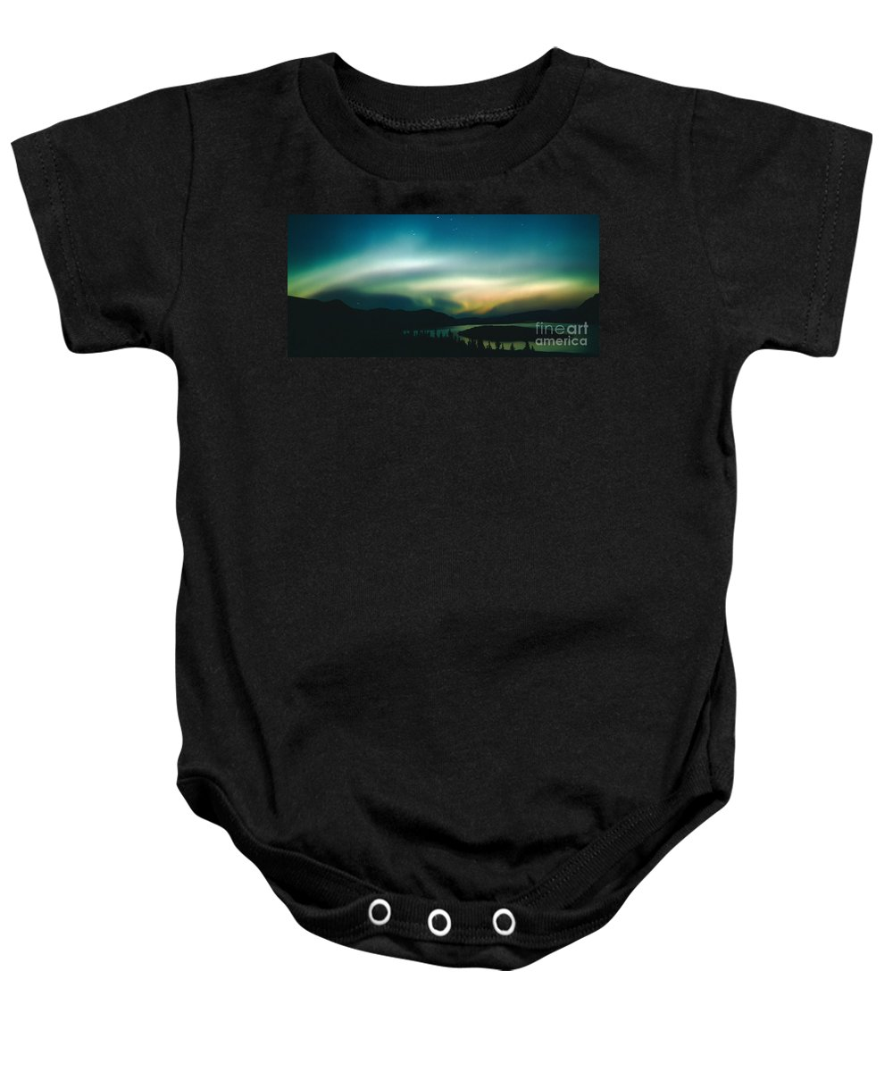Canada Baby Onesie featuring the photograph Northern Lights Over Bove Island by Tracy Knauer