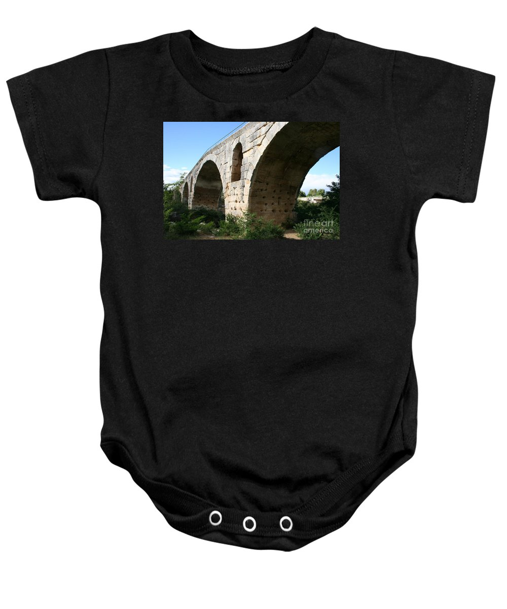 Roman Stonebridge Baby Onesie featuring the photograph Roman Bridge Pont St. Julien by Christiane Schulze Art And Photography
