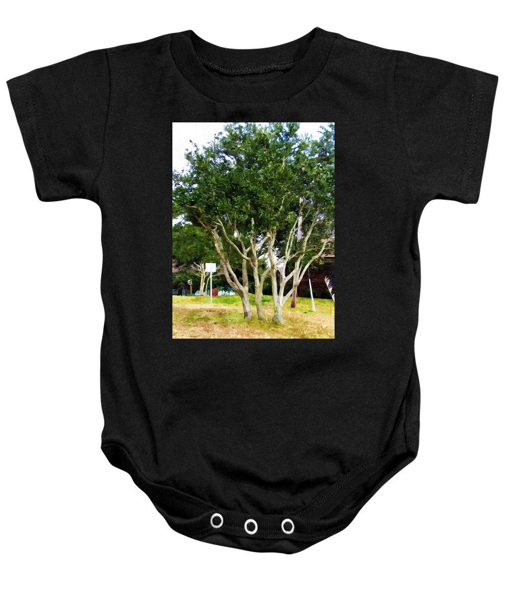 Neighborhood Baby Onesie featuring the painting Trees In A Suburban Neighborhood In Summer by Jeelan Clark