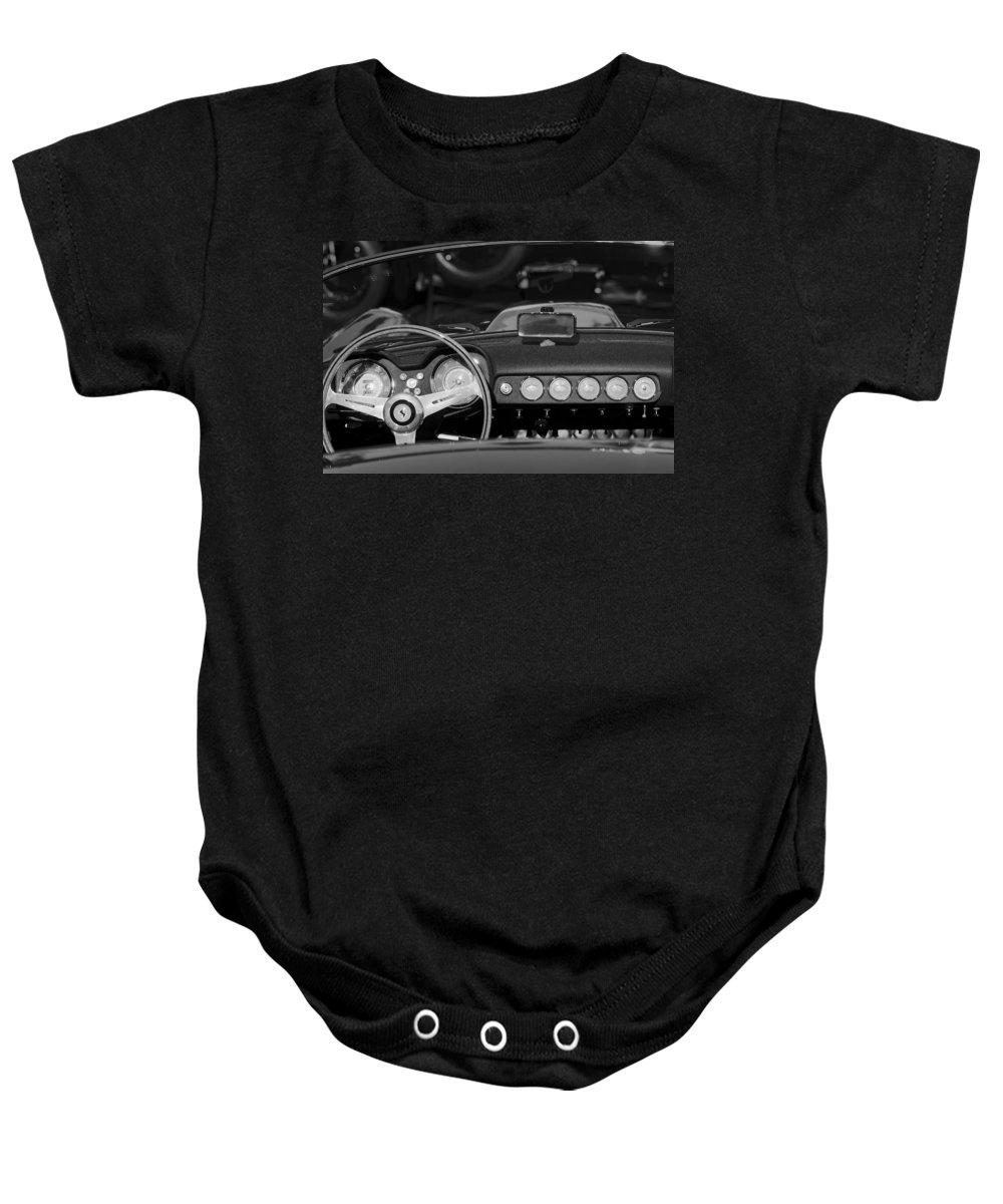 1958 Ferrari 250 Gt Lwb California Spider Steering Wheel Emblem - Dashboard Baby Onesie featuring the photograph 1958 Ferrari 250 Gt Lwb California Spider Steering Wheel Emblem - Dashboard by Jill Reger