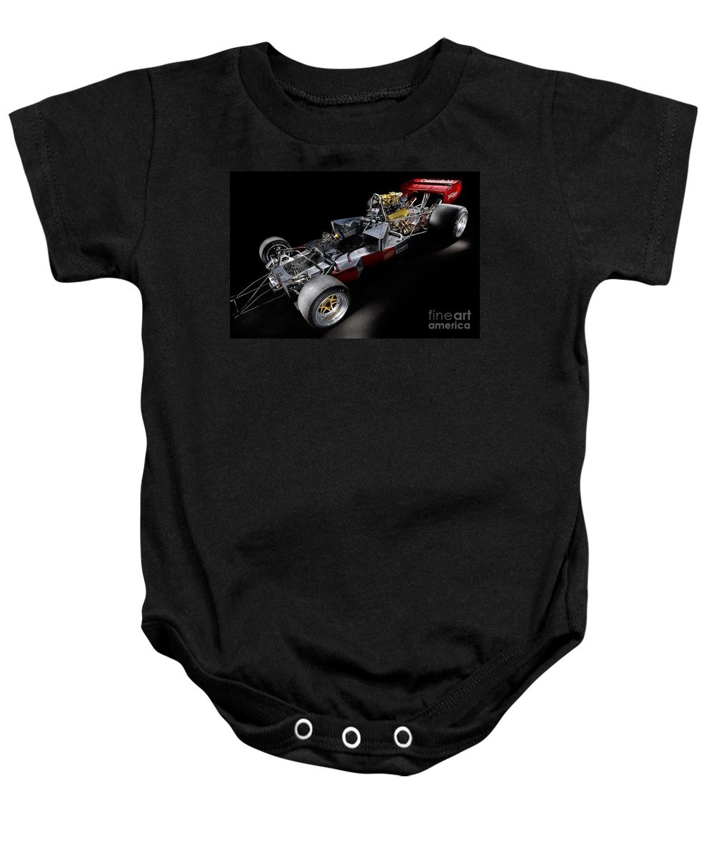 1974 Baby Onesie featuring the photograph 1974 Lola T332 F5000 Race Car V8 5 Litre Chassis by Frank Kletschkus