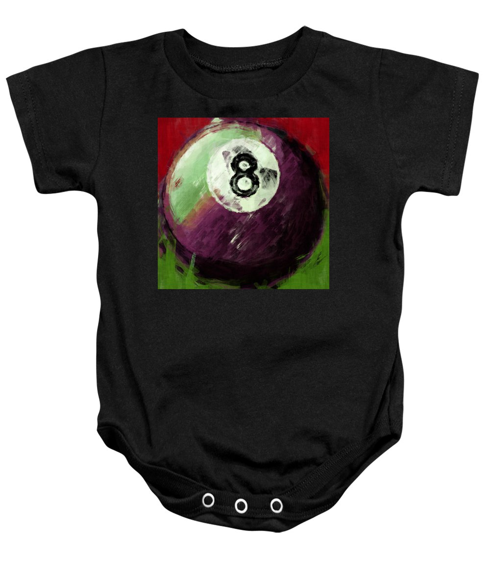 8 Baby Onesie featuring the digital art 8 Ball Billiards Abstract by David G Paul