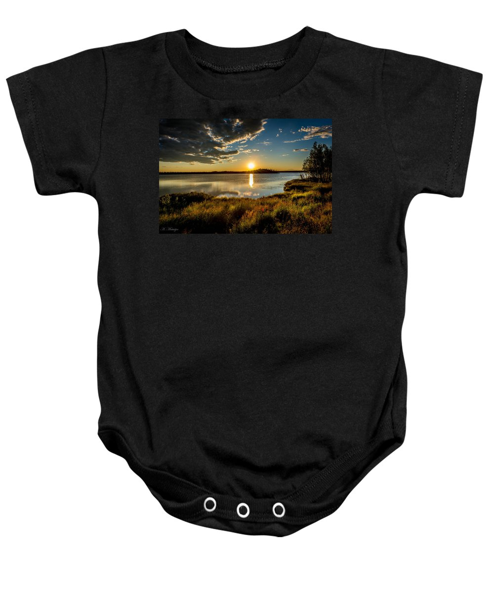 Baby Onesie featuring the photograph Alaskan Midnight Sun Over The Lake by Andrew Matwijec