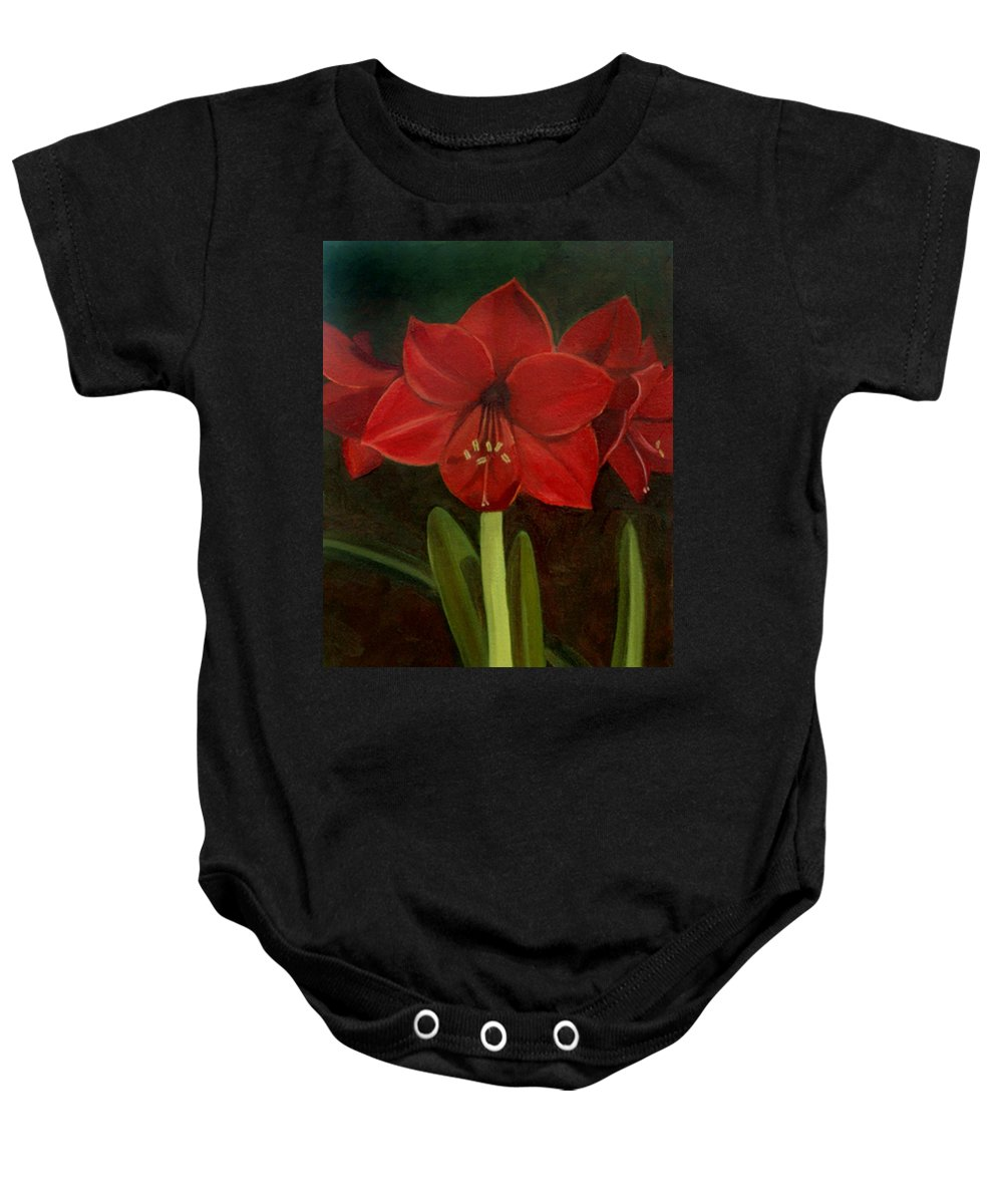 Amaryllis Baby Onesie featuring the painting Amaryllis by Nancy Griswold
