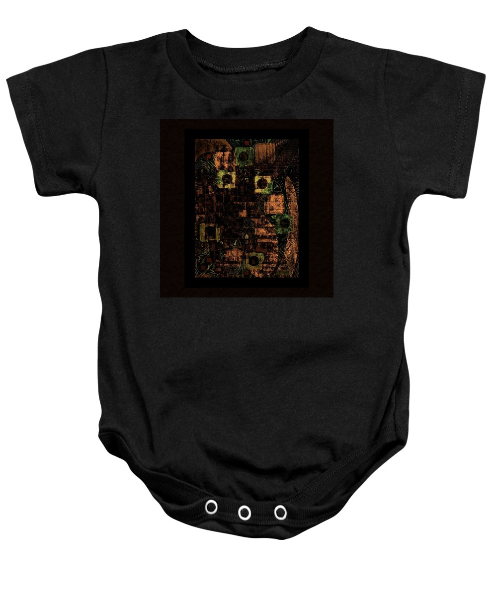 Brown Baby Onesie featuring the mixed media Amber by Natalie Holland