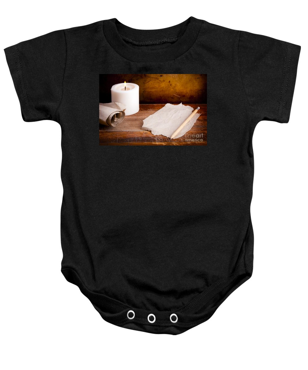 Ancient Baby Onesie featuring the photograph Antique Writing Background by Tim Hester