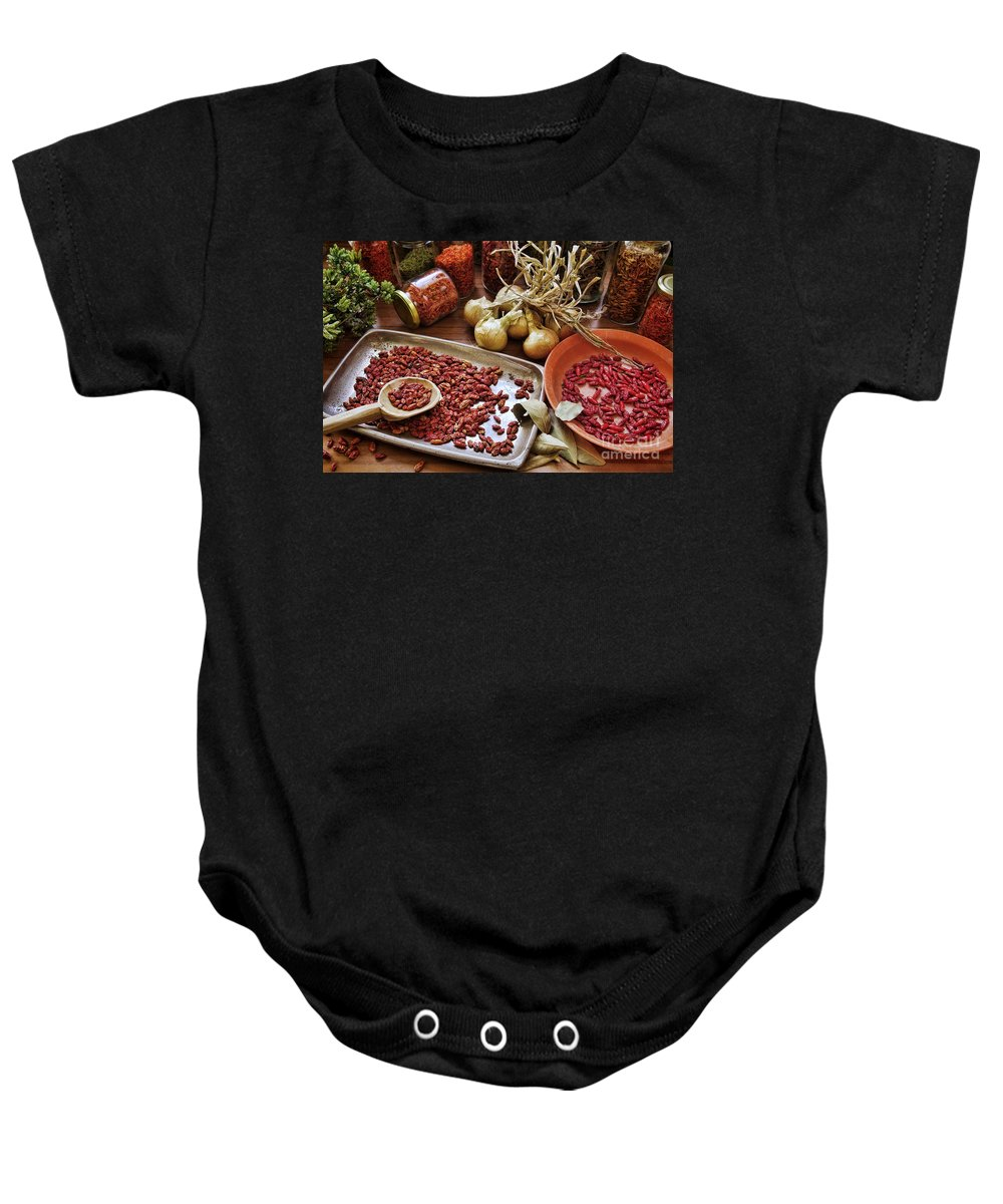 Aromatic Baby Onesie featuring the photograph Assorted Spices by Carlos Caetano