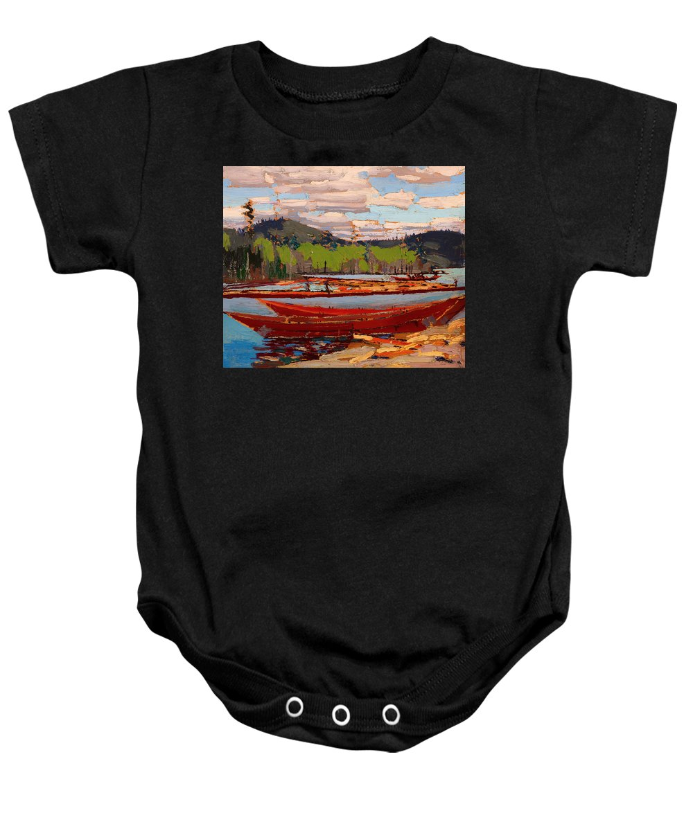 Painting Baby Onesie featuring the painting Bateaux by Mountain Dreams