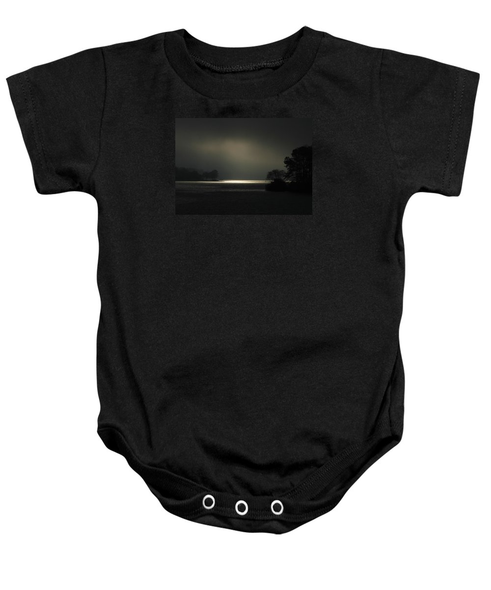 Reid Callaway Lake Oconee Black And White Baby Onesie featuring the photograph Sunrise Trying To Break Out Lake Oconee by Reid Callaway