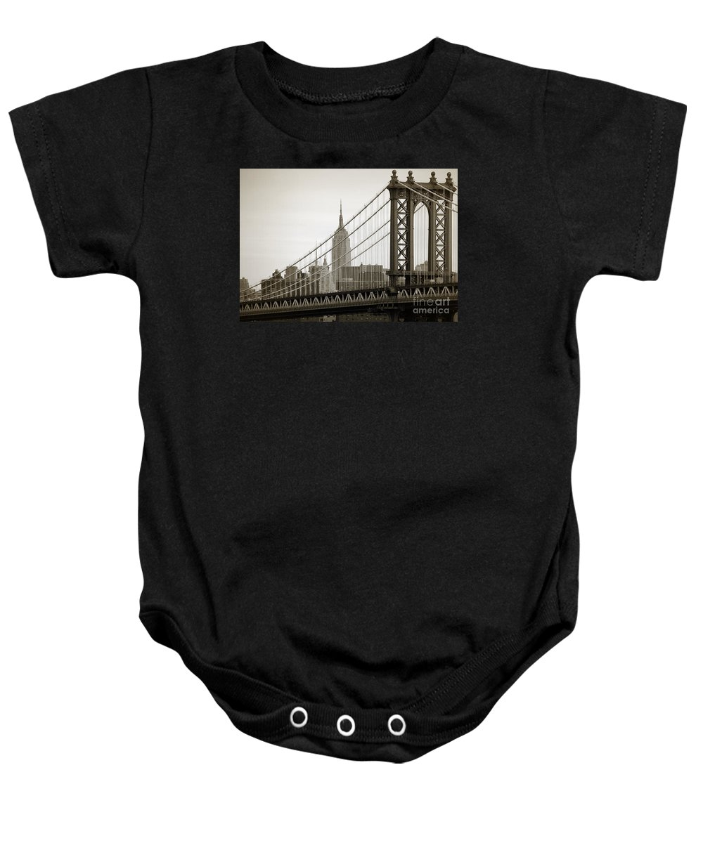 Manhattan Bridge Baby Onesie featuring the photograph Bridge From The Bridge by RicardMN Photography