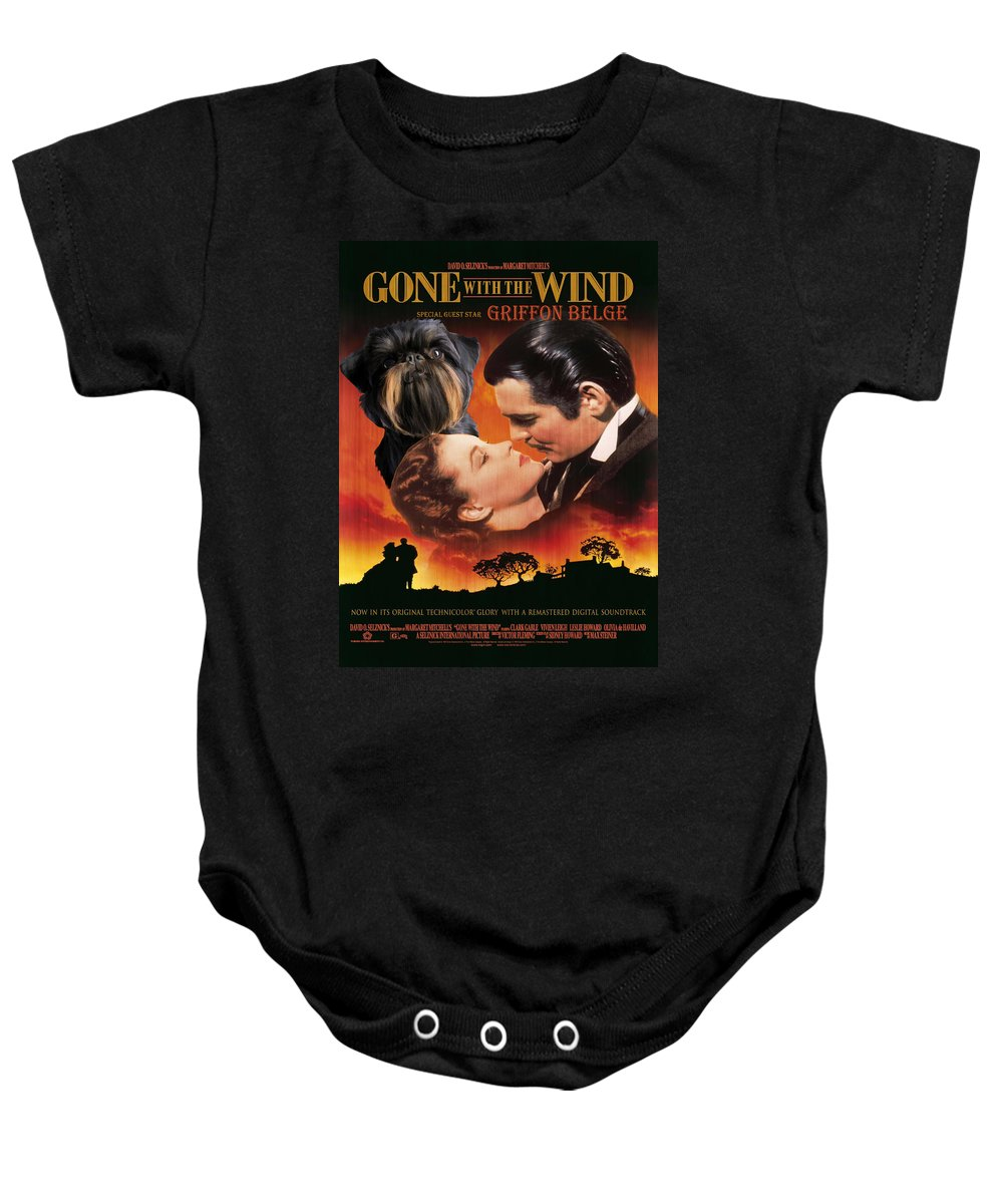 Brussels Griffon Baby Onesie featuring the painting Brussels Griffon Art - Gone With The Wind Movie Poster by Sandra Sij