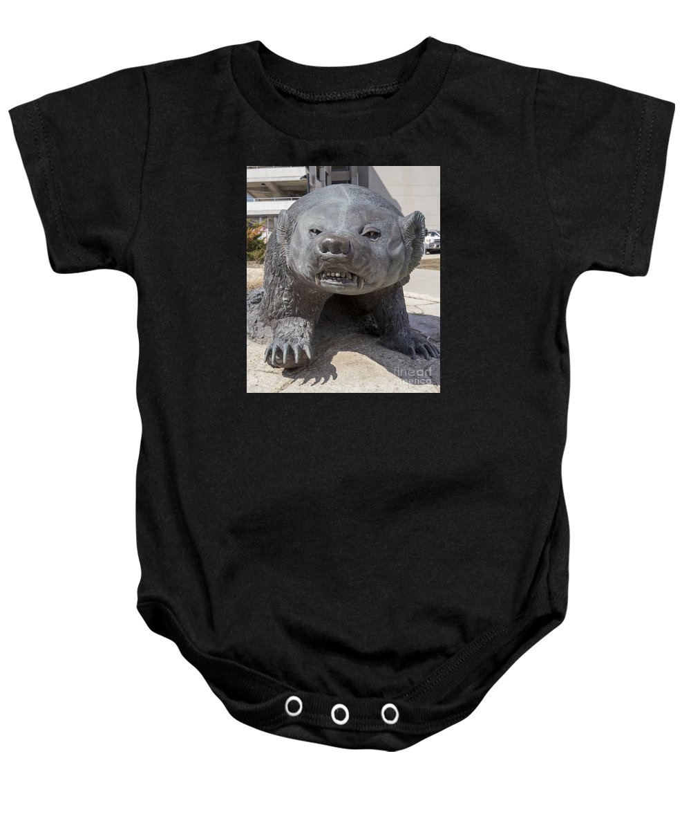 Badger Baby Onesie featuring the photograph Badger Statue 4 At Uw Madison by Steven Ralser