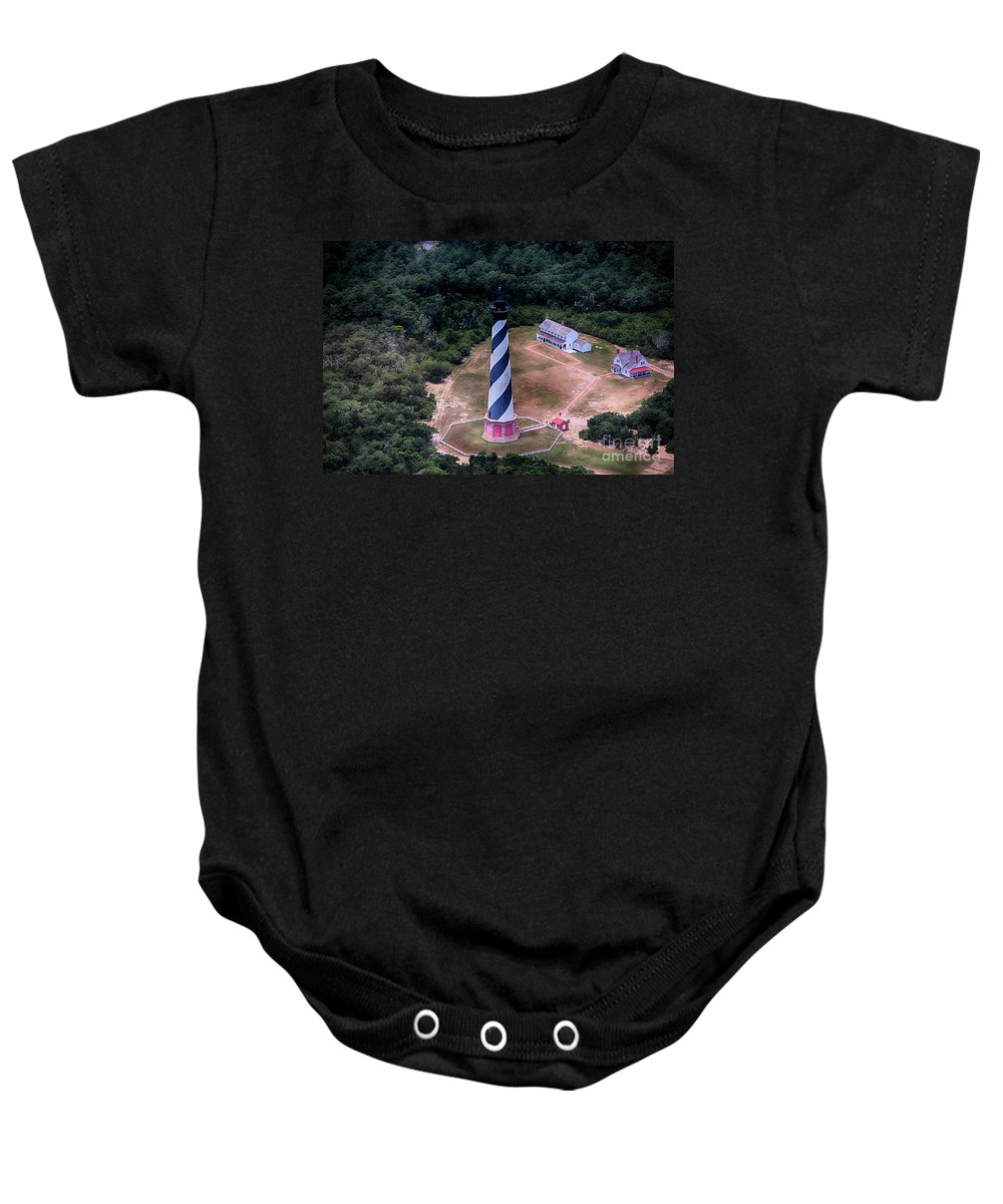 Cape Hatteras Baby Onesie featuring the photograph Cape Hatteras Lighthouse From Above by Tony Cooper