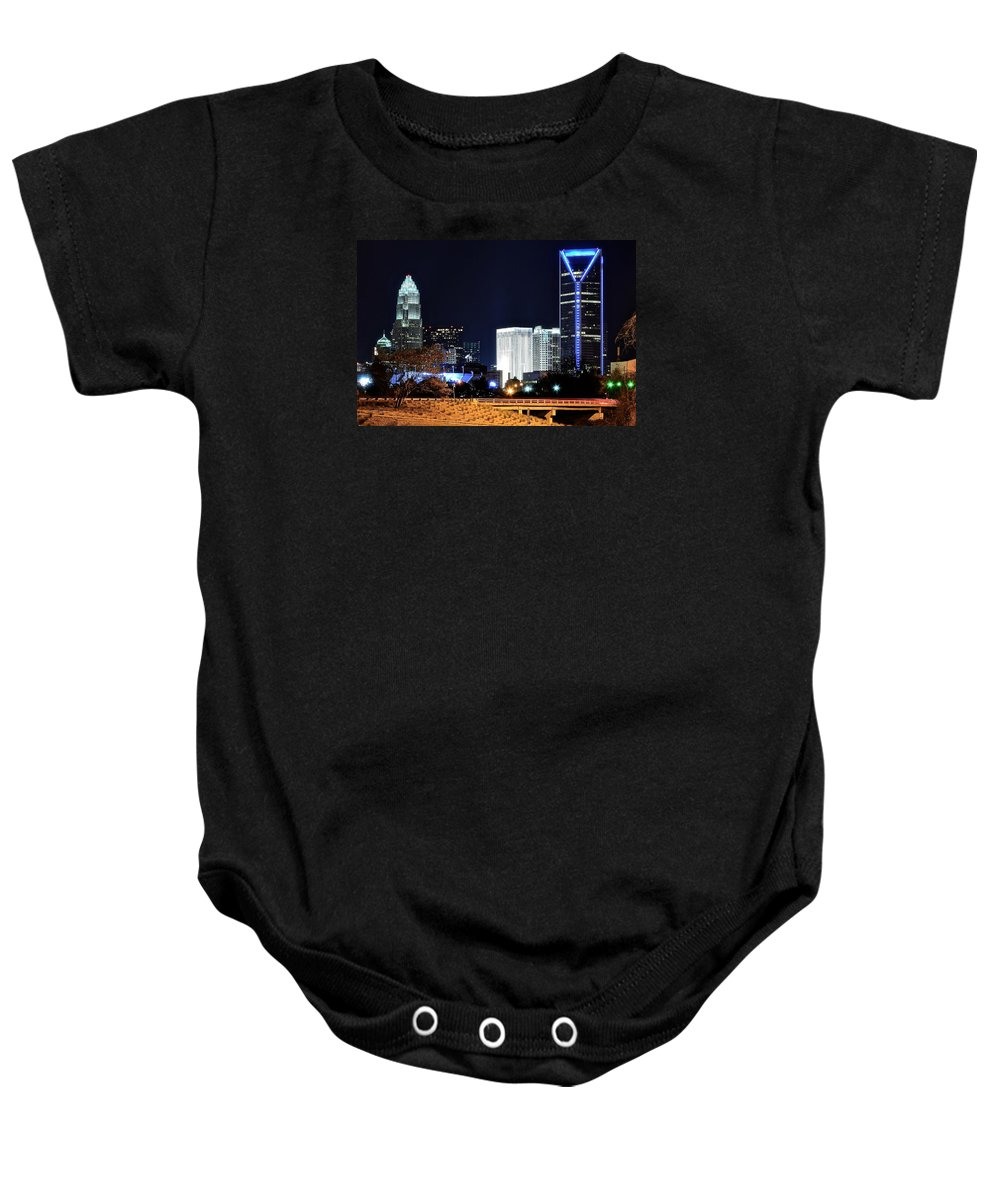 Charlotte Baby Onesie featuring the photograph Charlotte Towers by Frozen in Time Fine Art Photography