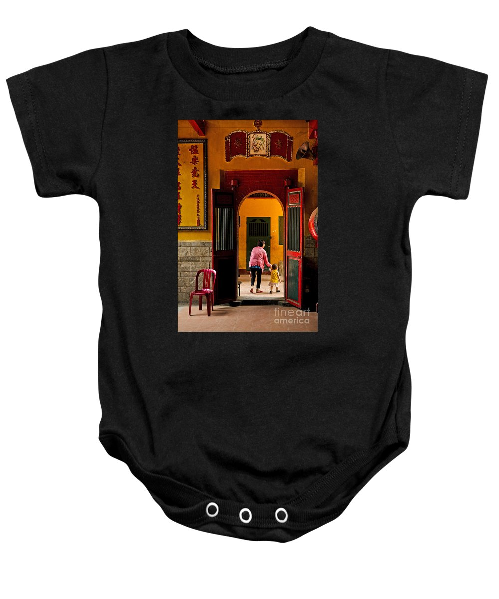Architecture Baby Onesie featuring the photograph Chinese Temple In Ho Chi Minh Vietnam by Jacek Malipan