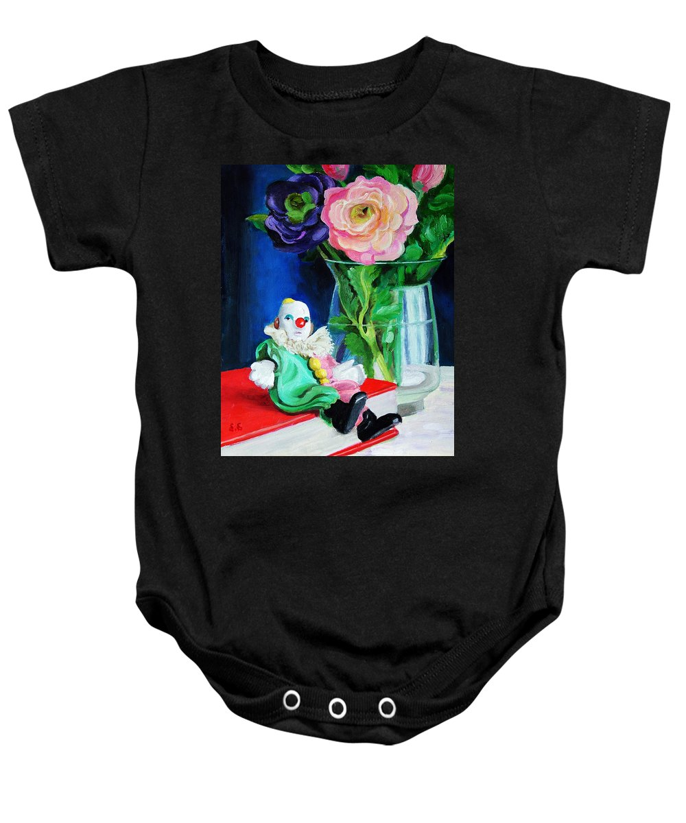 Clown And Flowers Still Life Baby Onesie featuring the painting Clown Book And Flowers by Edward Skallberg
