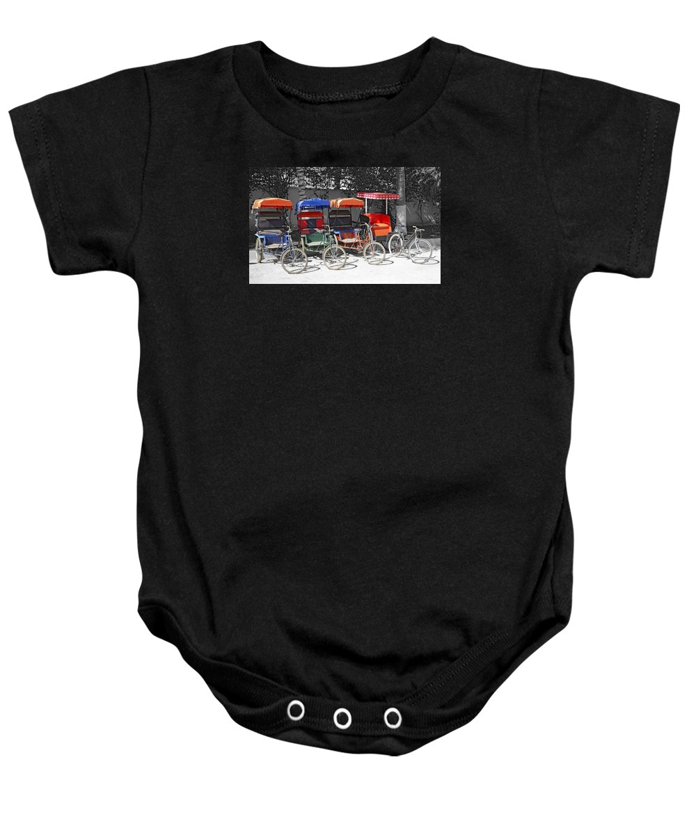 Bicycle Rickshaw Baby Onesie featuring the photograph Cycle Rickshaws by Liz Leyden