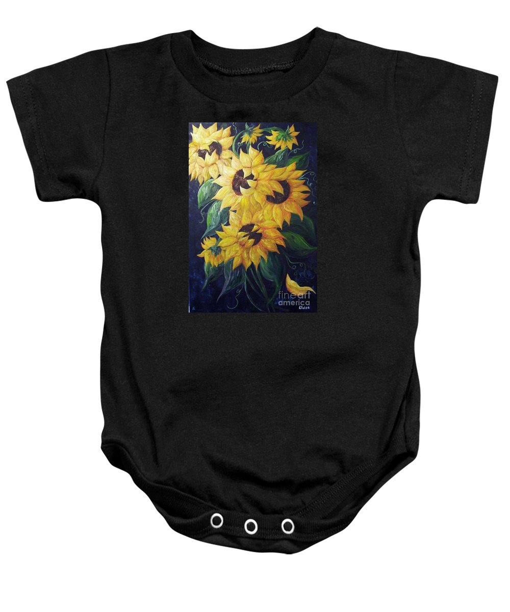 Sunflower Baby Onesie featuring the painting Dancing Sunflowers by Eloise Schneider