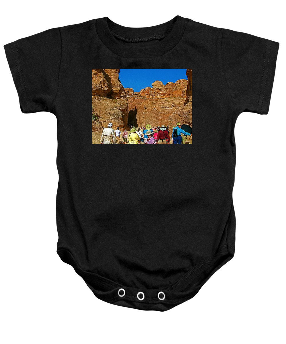 Entering Mile-long And 600 Foot High Gorge Leading To Treasury In Petra Baby Onesie featuring the photograph Entering Mile-long And 600 Foot High Gorge Leading To Treasury In Petra-jordan by Ruth Hager