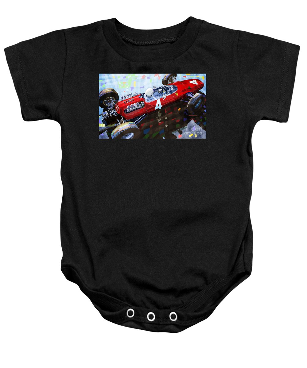 Automotive Baby Onesie featuring the mixed media 1965 British Grand Prix Silverstone Lorenzo Bandini Ferrari 158 by Yuriy Shevchuk