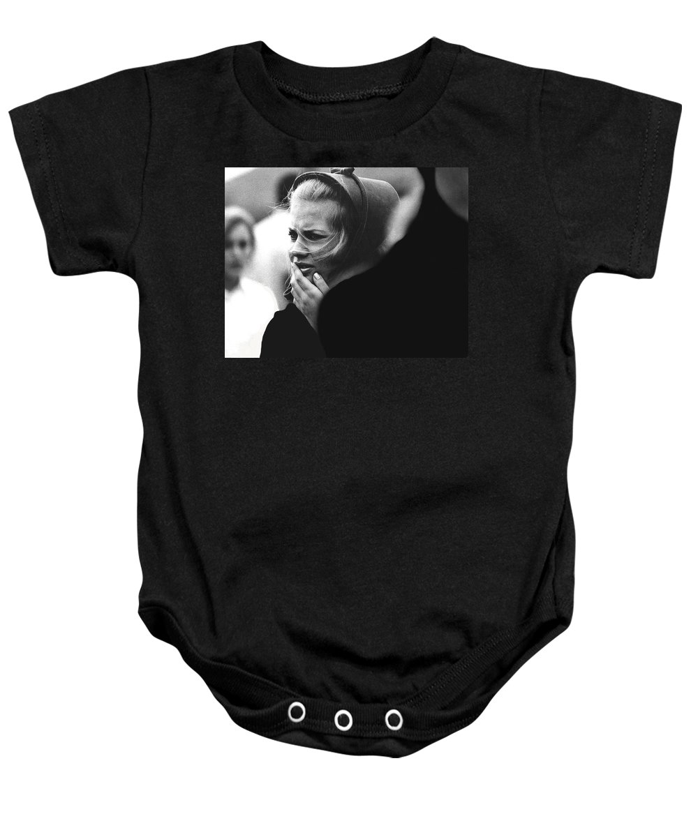 Film Noir Pat O'brien Crack-up 1946 Extra Funeral Young Billy Young Old Tucson Arizona 1968 Baby Onesie featuring the photograph Film Noir Pat O'brien Crack-up 1946 Extra Funeral Young Billy Young Old Tucson Arizona 1968 by David Lee Guss