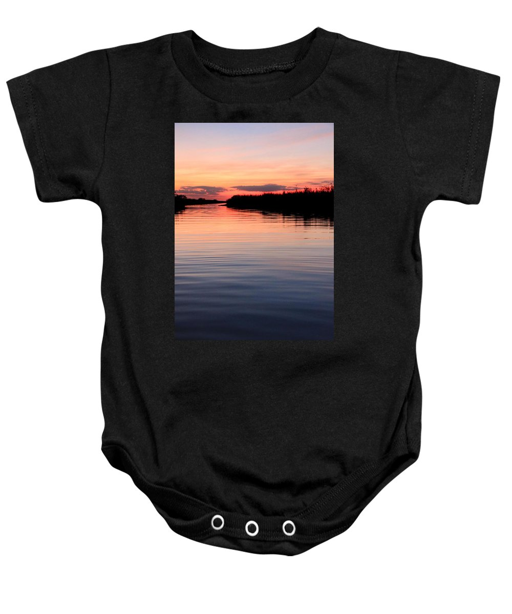Water Sunset Ocean Everglades Florida Pink Blue Beautiful Spectacular Peace Relaxation Smooth Water Baby Onesie featuring the photograph Hypnosis by AR Annahita