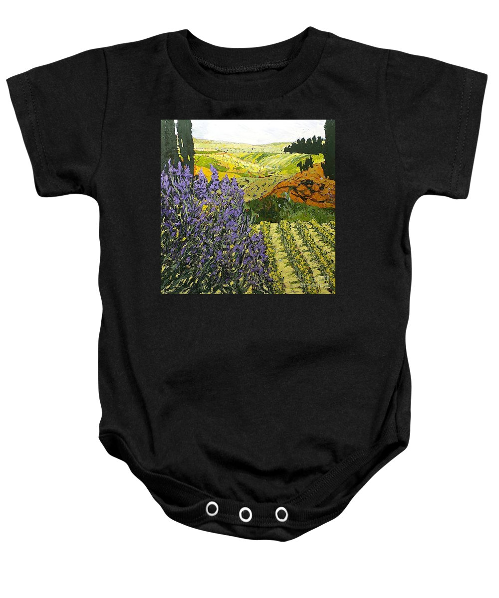Landscape Baby Onesie featuring the painting It Is Magic by Allan P Friedlander