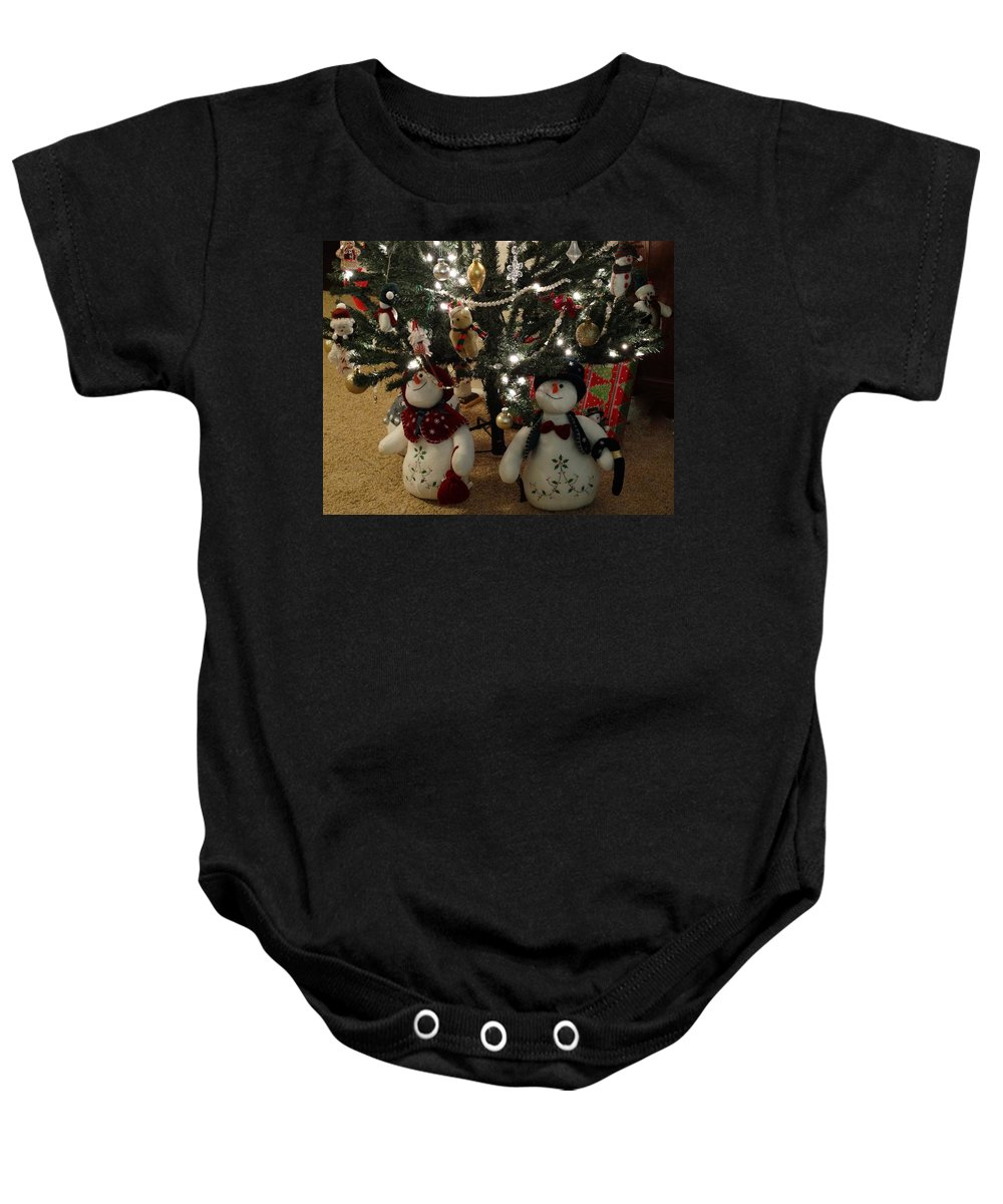 Snowmen Baby Onesie featuring the photograph Joyful by Annie Adkins