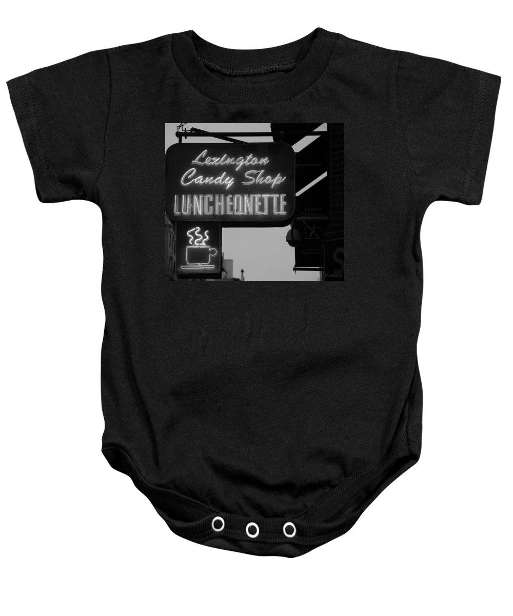 Scenic Baby Onesie featuring the photograph Lexington Candy Shop In Black And White by Rob Hans