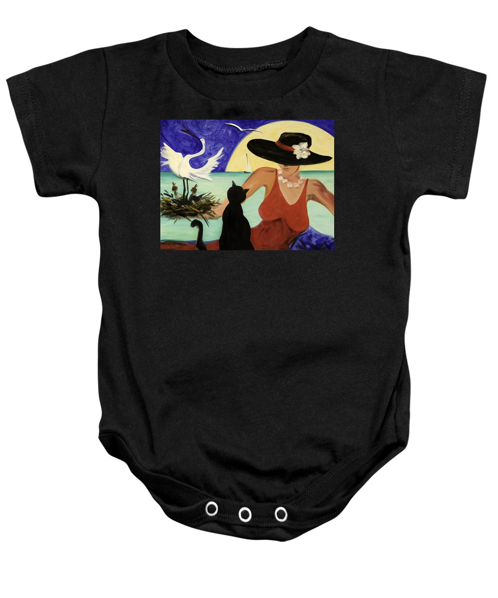 Colorful Art Baby Onesie featuring the painting Living The Dream by Gina De Gorna