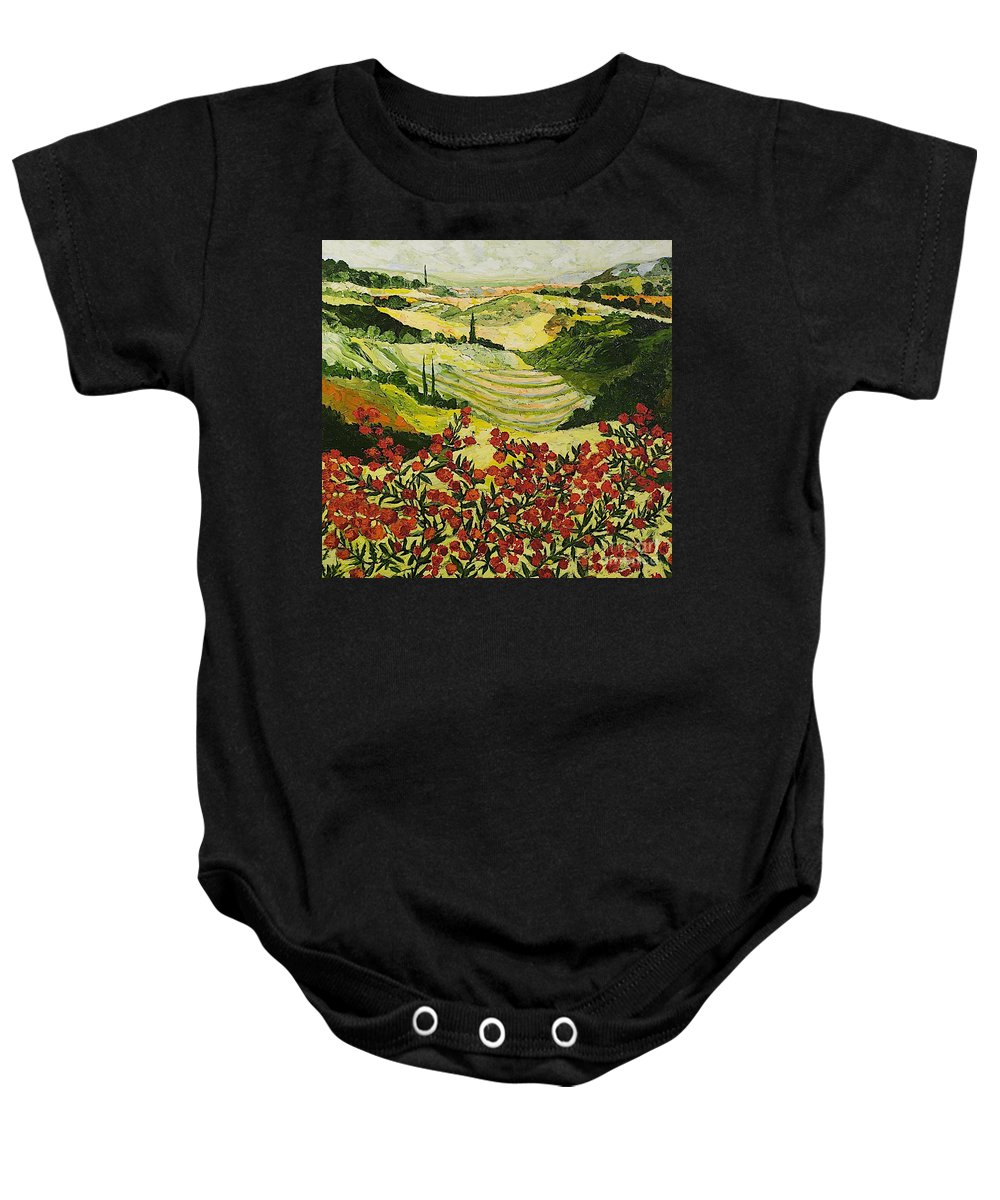 Landscape Baby Onesie featuring the painting Look And Behold by Allan P Friedlander
