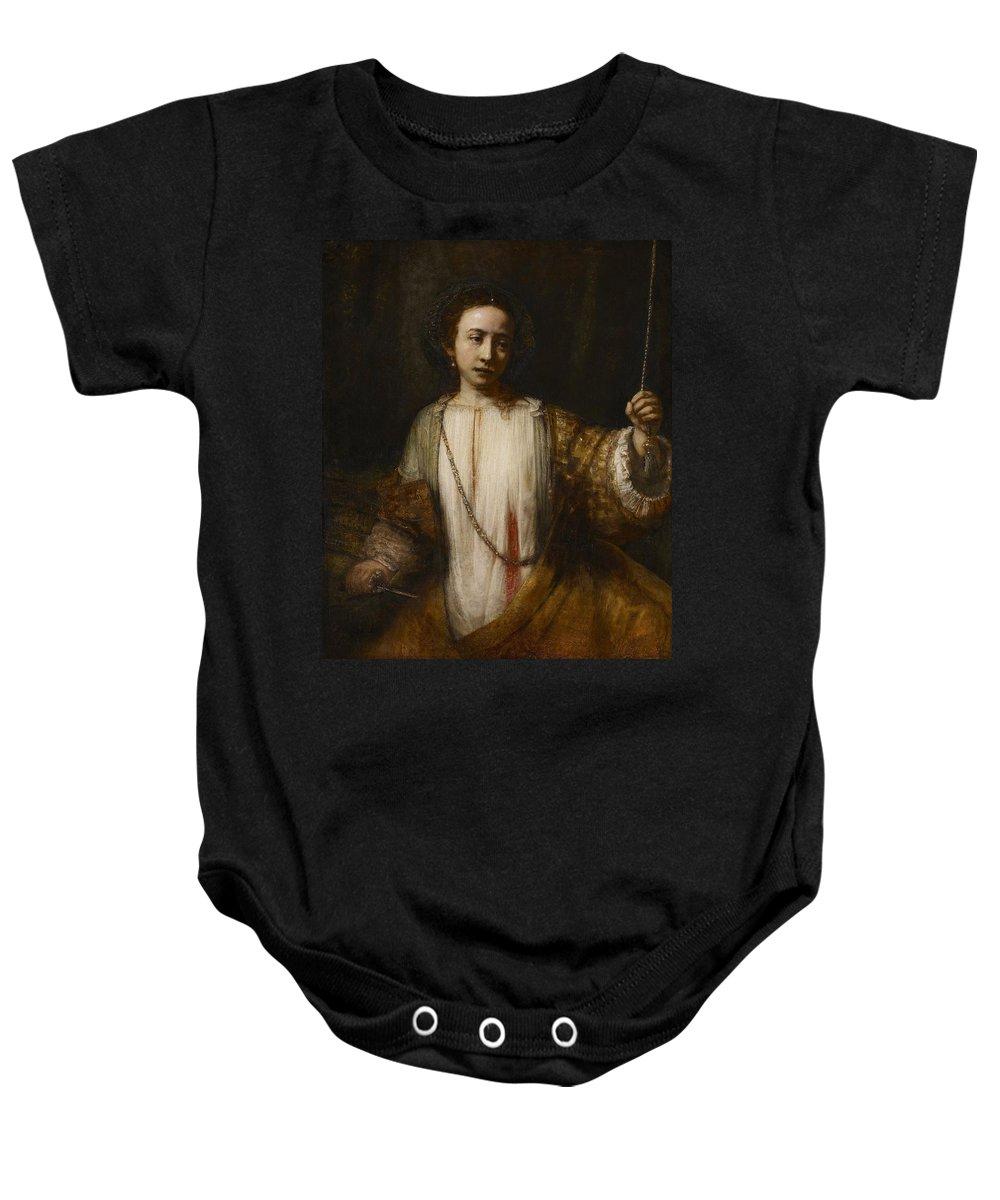 1666 Baby Onesie featuring the painting Lucretia by Rembrandt van Rijn