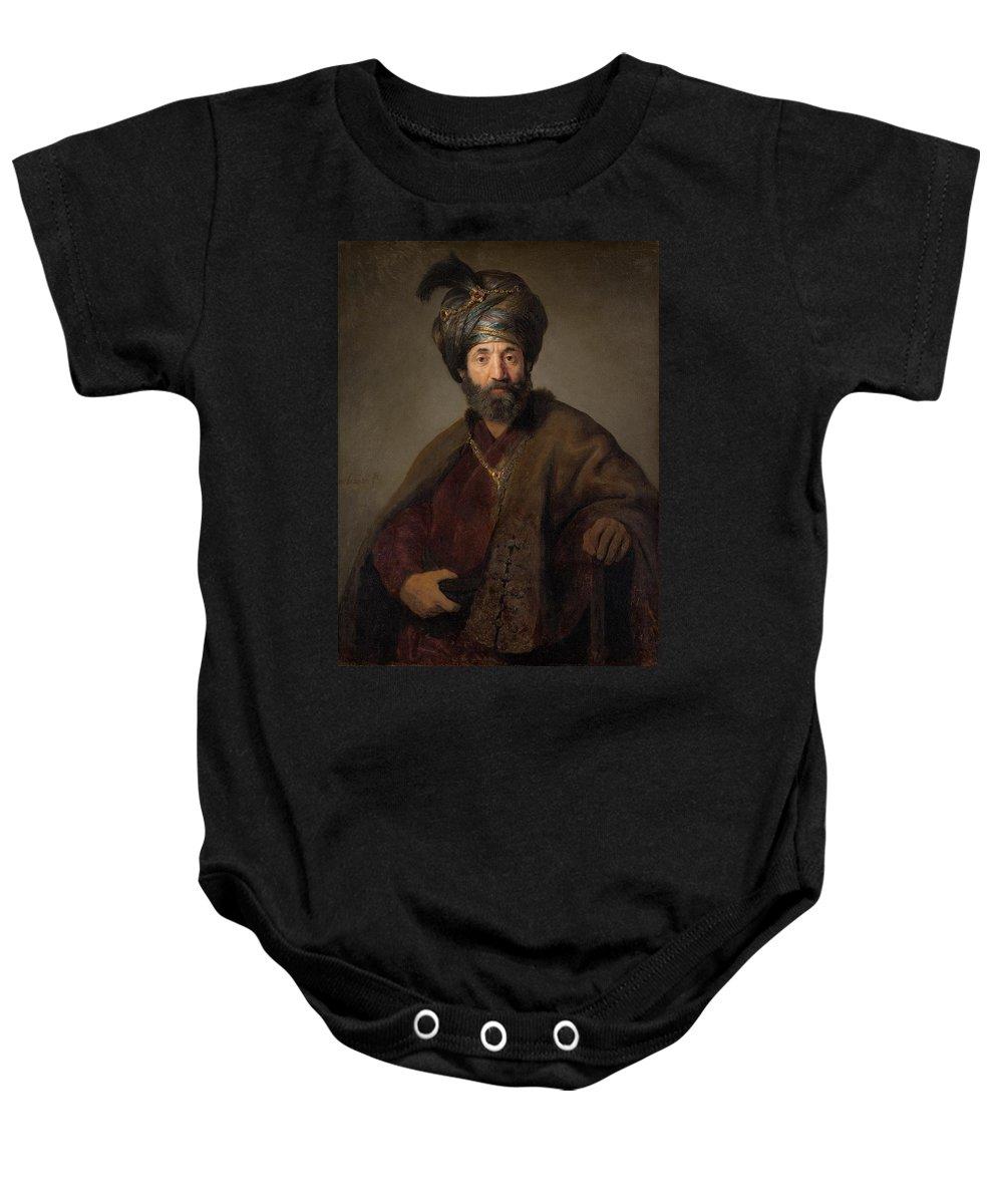 1635 Baby Onesie featuring the painting Man In Oriental Costume by Rembrandt van Rijn