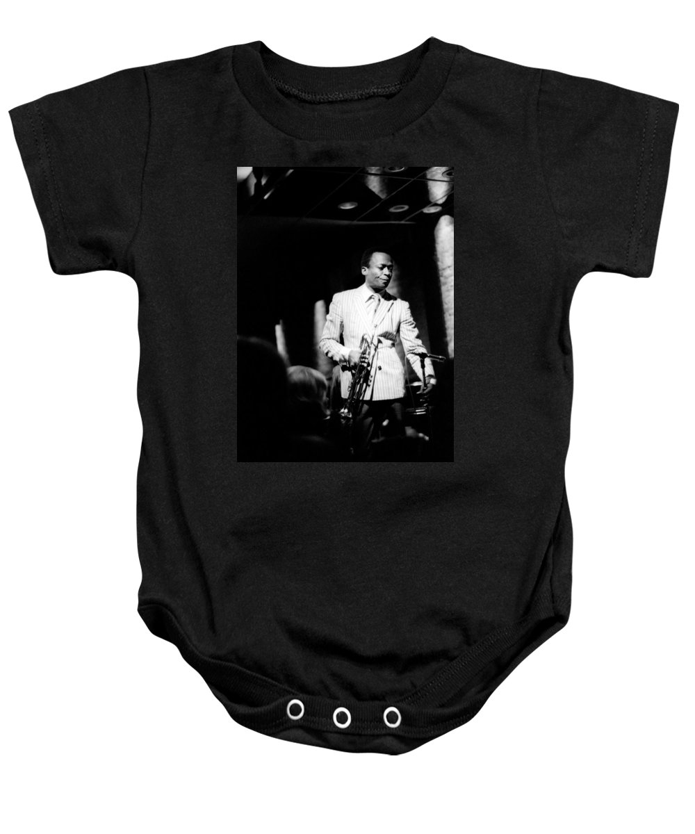 Miles Baby Onesie featuring the photograph Miles Davis At The Penthouse by Dave Coleman
