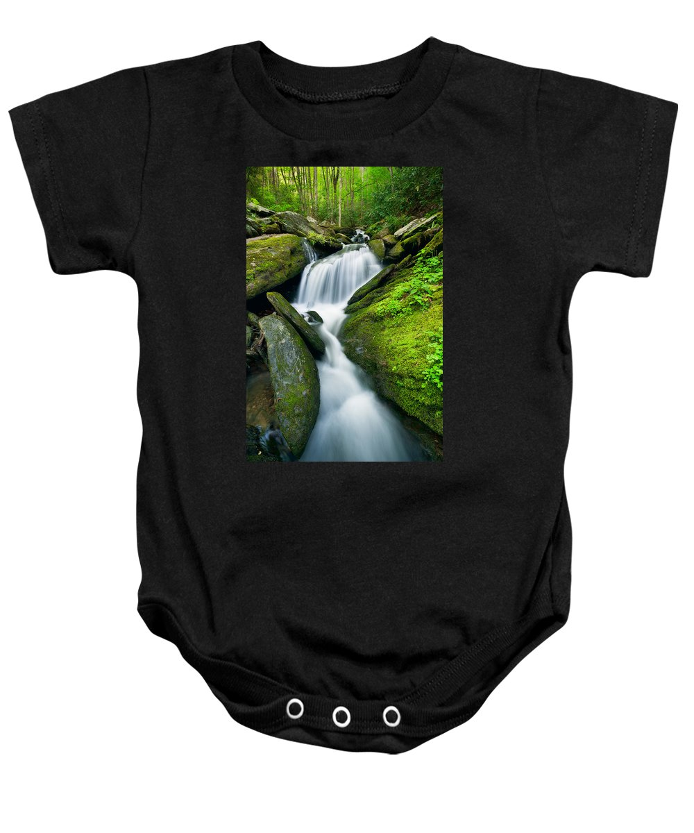 Cascade Baby Onesie featuring the photograph Mossy Rocks On Cascade by Michael Blanchette