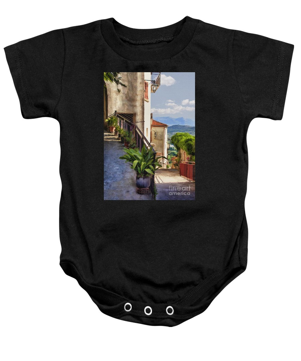 Mountain Baby Onesie featuring the photograph Mountain Village Impasto by Sharon Foster