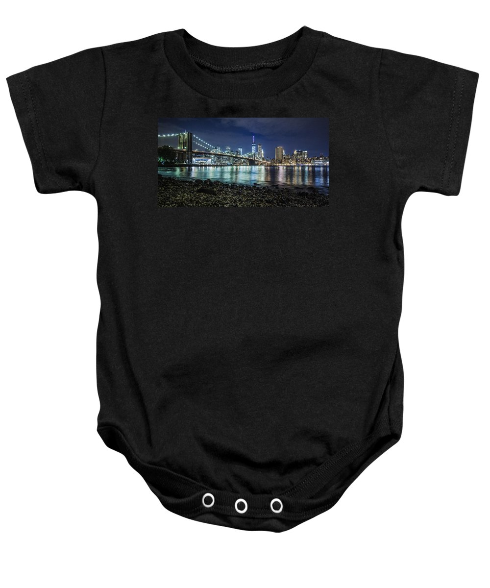 New York Baby Onesie featuring the photograph Night View To Manhattan by Alex Potemkin