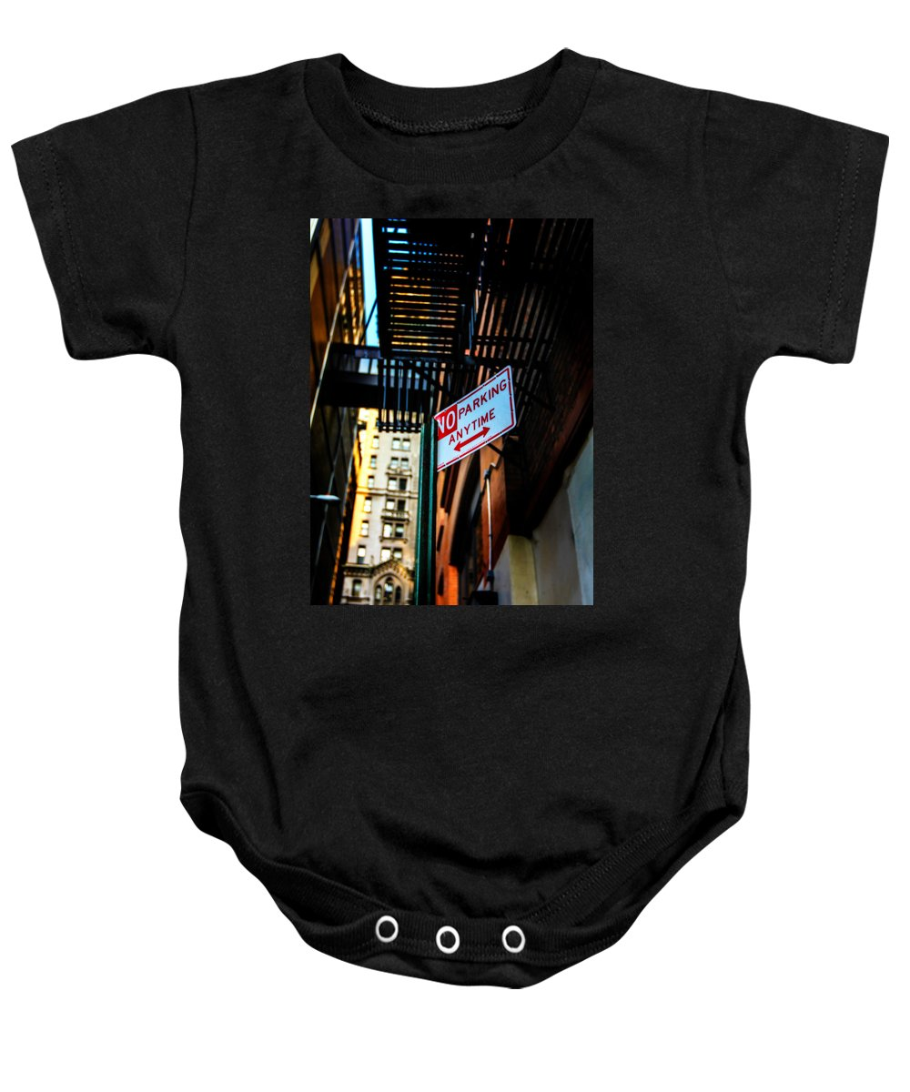 Streets Of New York Baby Onesie featuring the photograph No Parking by Digital Kulprits