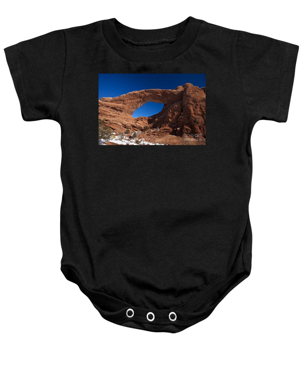 Arches Baby Onesie featuring the photograph North Window Arches National Park Utah by Jason O Watson