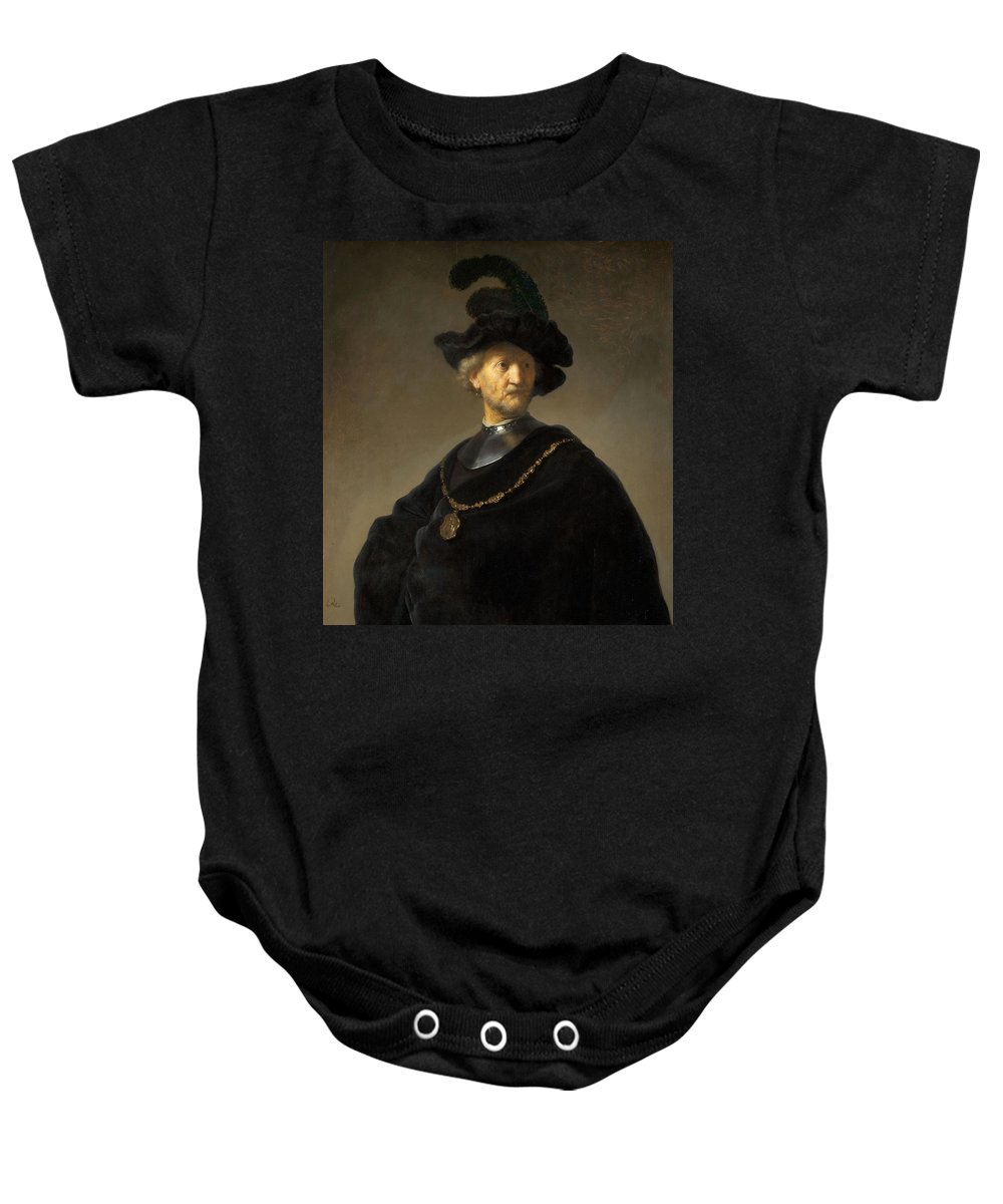 1631 Baby Onesie featuring the painting Old Man With A Gold Chain by Rembrandt van Rijn